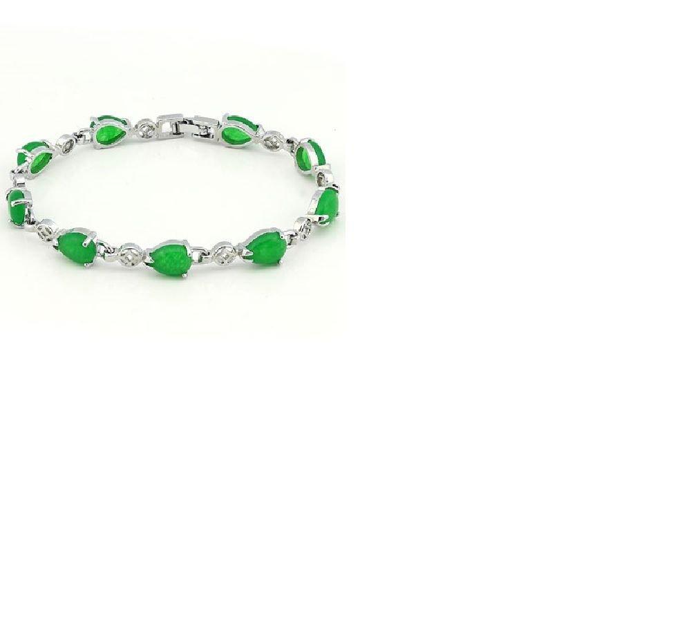 """7"""" Malasian Jade 18kt Gold/Sterling Silver Green Blessing Bracelet/11 Grams"""