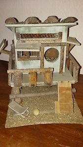 "Vintage Wooden Bird House Tree House Deck Ramp Lounge Chair Windows Logs 9"" H"
