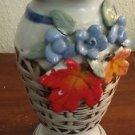 """Vintage 7""""h White Ceramic Vase Basket Weave Design Blue Flowers Orange Leaves"""