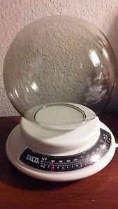 "Vintage Smokey Clear Glass Dome Pole Light Fixture No Neck 6"" Round 3"" Opening"