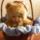 "Avon Anne Geddes Baby Bear Basket Blue Gingham Ruffles Sailor Hat 6"" Doll Card"