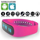 Pink Smart Bracelet Bluetooth Health Tracker Sleep Monitoring Smart Watch