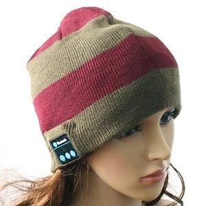 Red/Grey Stripe Beanie Hat Wireless Bluetooth Headset Headphone Speaker Mic