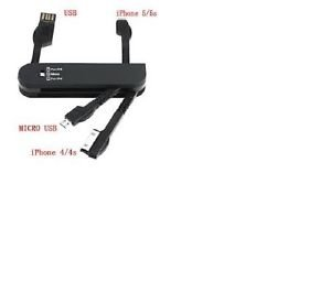 Multifunction Swiss Style 4 in 1 USB Data Sync & Charger Cable 8Pin/30Pin/Micro