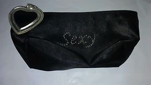 Small Clutch Purse Black Satin Sexy Heart Zipper Pocketbook
