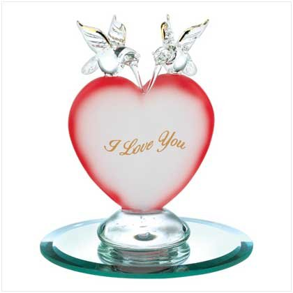 Hummingbird Heart Glass Figurine