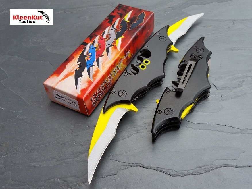 NEW BATMAN BLACK/ YELLOW DOUBLE BLADE Spring Assisted Open TACTICAL Pocket Knife