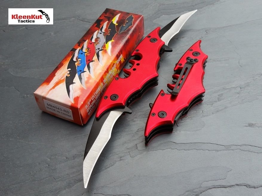 Batman Double Side Blade Spring Assisted Tactical Pocket Knife Red Bat Man