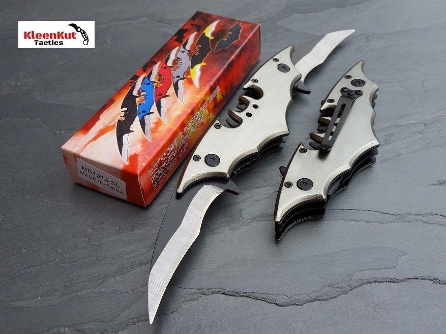 Batman Double SILVER Spring Assisted TACTICAL Pocket Knife GRAY / BLACK Bat