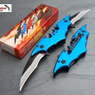 Batman Double Side Blade Spring Assisted Tactical Pocket Knife BLUE Bat Man Dark Knight