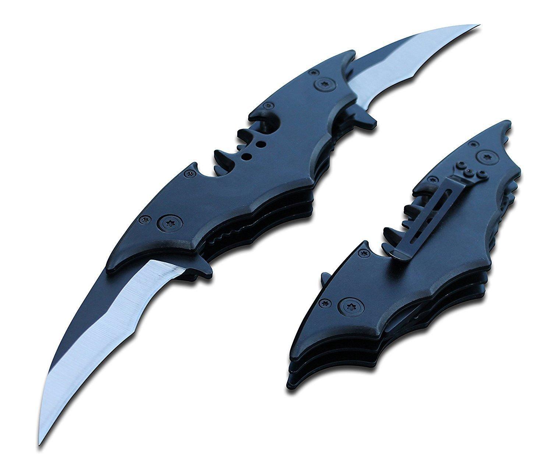 Batman Double Side Blade Spring Assisted Tactical Pocket Knife Black Bat Man