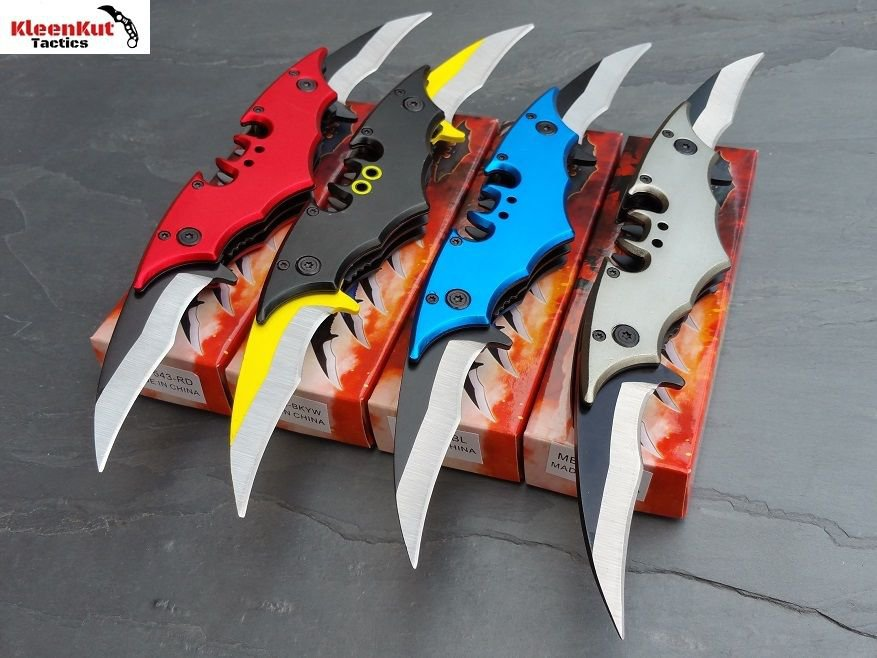 NEW 4 Pc DOUBLE BLADE Batman Spring Assisted TACTICAL Pocket Knife SET Bat Man