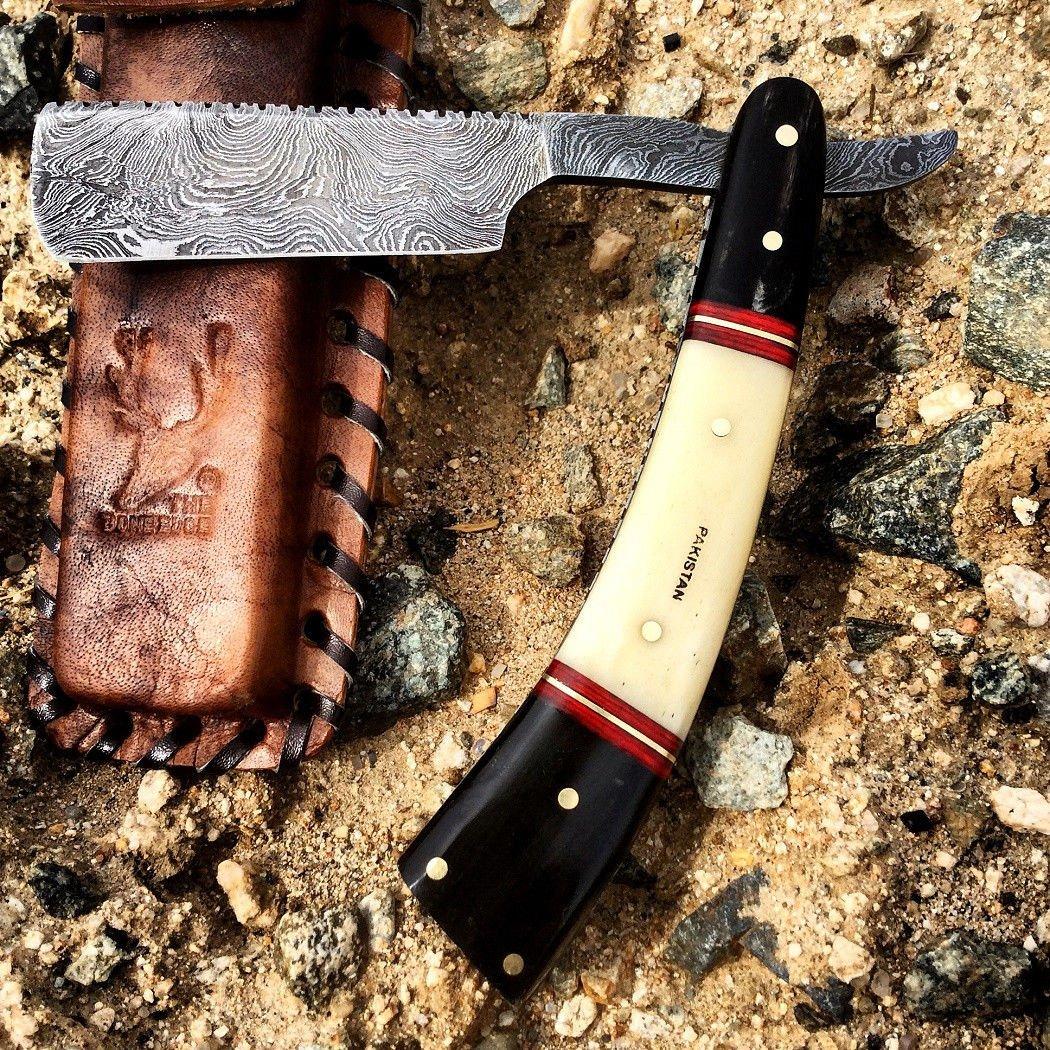 """NEW Bone Edge Razor Damascus Blade 10"""" Blade Barber Pocket Knife Shaving"""
