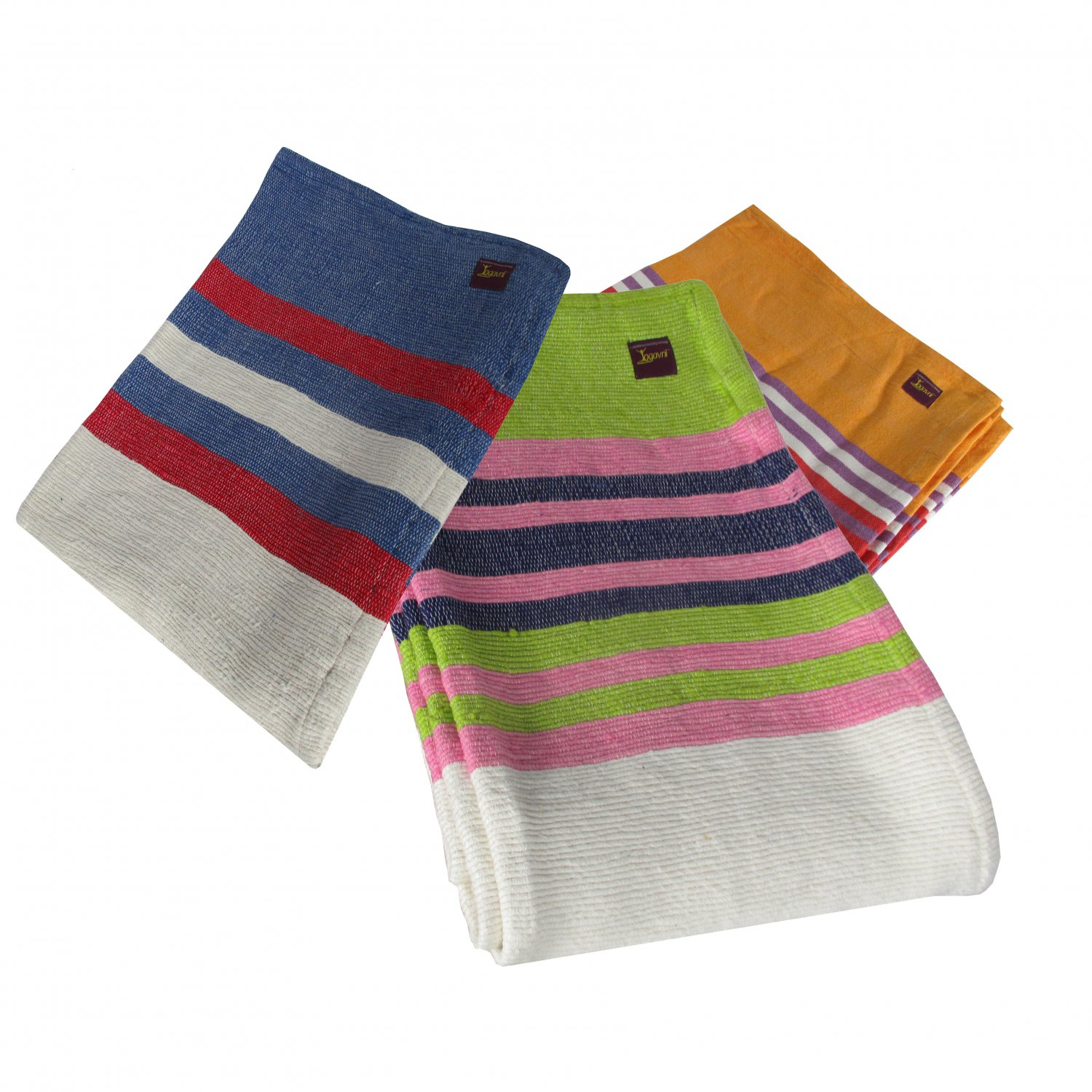 Deluxe Striped Soft and Pure Cotton Yoga Blanket - Available as Assorted Colors Only