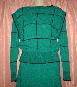 Sweater Set, Top & Skirt, Black/Green, Sz M