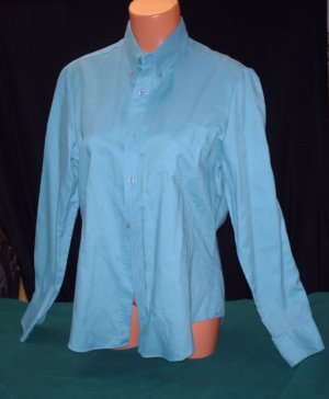 Womens/Misses -Medium Blue Button Down Blouse/Shirt, L/S - Sz 14