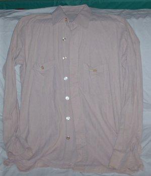Men's Long Sleeve Button Front Shirt, Beighe Size M