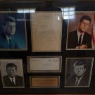 JOHN F KENNEDY FRAMED SIGNED LETTER AND ENVELOPE MEASURING 37.1 X 32.1
