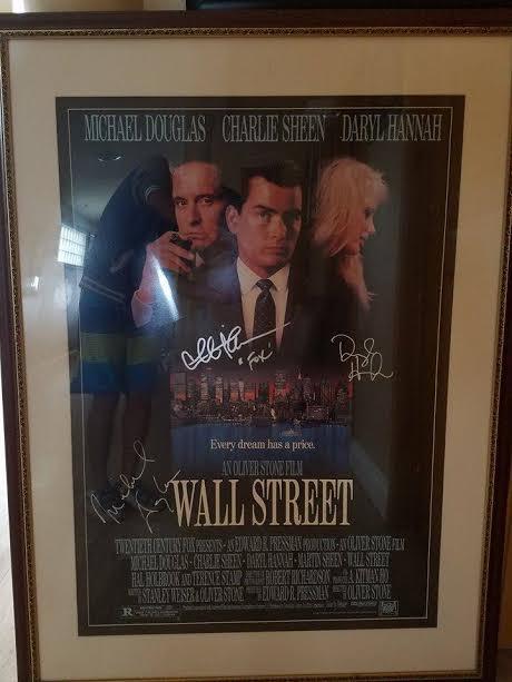 WALL STREET CAST SIGNED MOVIE POSTER MICHAEL DOUGLAS, CHARLIE SHEEN, DARRYL HANNAH