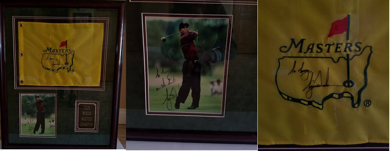 TIGER WOODS SIGNED 8X10 PHOTO AND MASTERS FLAG IN AMUSEUM QUALITY FRAME