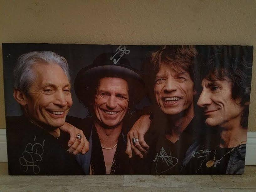 THE ROLLING STONES SIGNED CANVAS PHOTO