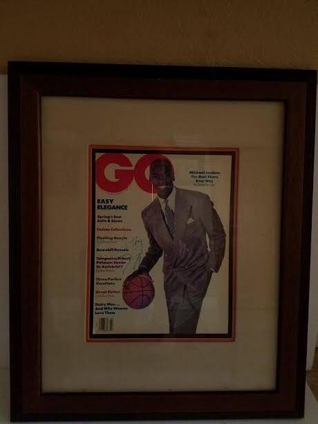 MICHAEL JORDAN FRAMED AND MATTED FULL GQ MAGAZINE