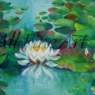 Water Lilies Original Oil Painting Ponds White Nénuphar Flowers Lily Pads Impression Fine Art