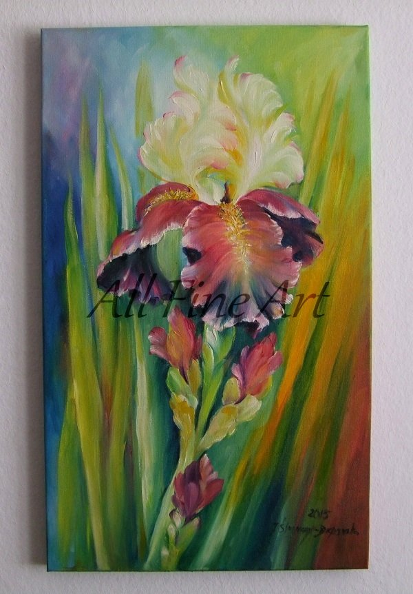 Iris Original Oil Painting Colorful Flower Garden Blossom Still Life Fine Art
