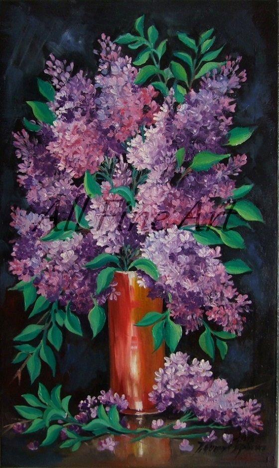 Lilacs Original Oil Painting Still Life Purple Flowers Vase Garden tree Blossom Fine Art