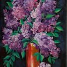 Lilacs Original Oil Painting Still Life Purple Flowers Vase Garden tree Blossom Fine Art