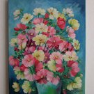Cosmos Flowers Original Oil Painting Still Life Colorful Bouquet Vase Meadow Garden Blossom Fine Art