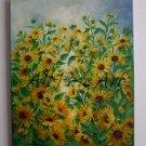 Sunflowers Original Oil Painting Field Flowers Garden Meadow Blossoms Landscape Fine Art