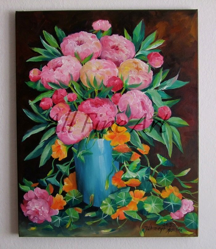 Peonies Nasturtium Original Oil Painting Pink Orange Flowers Bouquet Blue Vase Peony Decor Fine Art