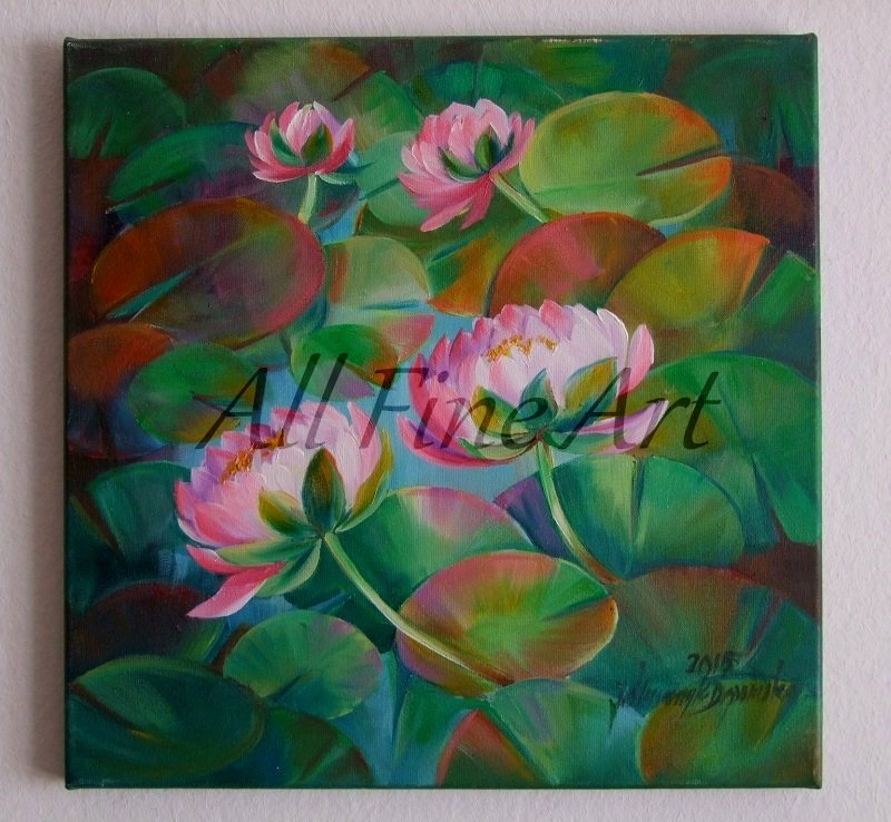 Water Lilies Original Oil Painting Ponds Pink Flowers Lily Pads Impression Fine Art