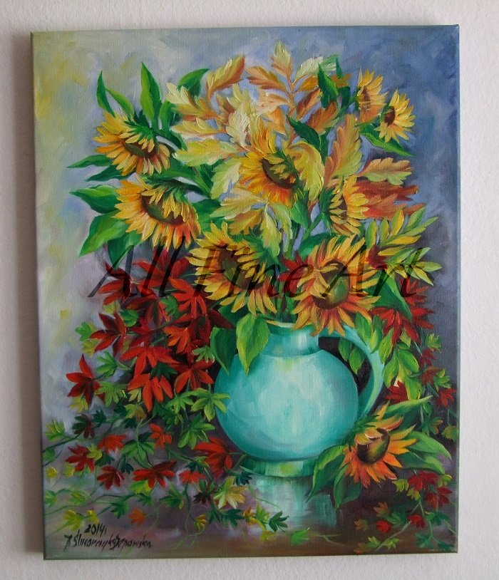 Autumn Bouquet Original Oil Painting Sunflowers Still Life Red Orange Decor Blue Vase Fine Art