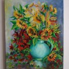 Autumn Bouquet Original Oil Painting Sunflowers Still Life Red Orange Decor Blue Vase Fine Art