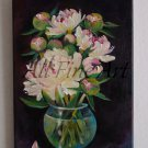 White Peonies Original Oil Painting Still Life Flowers Bouquet Glass Vase Floral Fine Art Pink Black