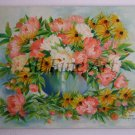 Peonies Rudbeckia Original Oil Painting Flowers Bouquet Still Life Blue Vase Pink Salmon White Peony