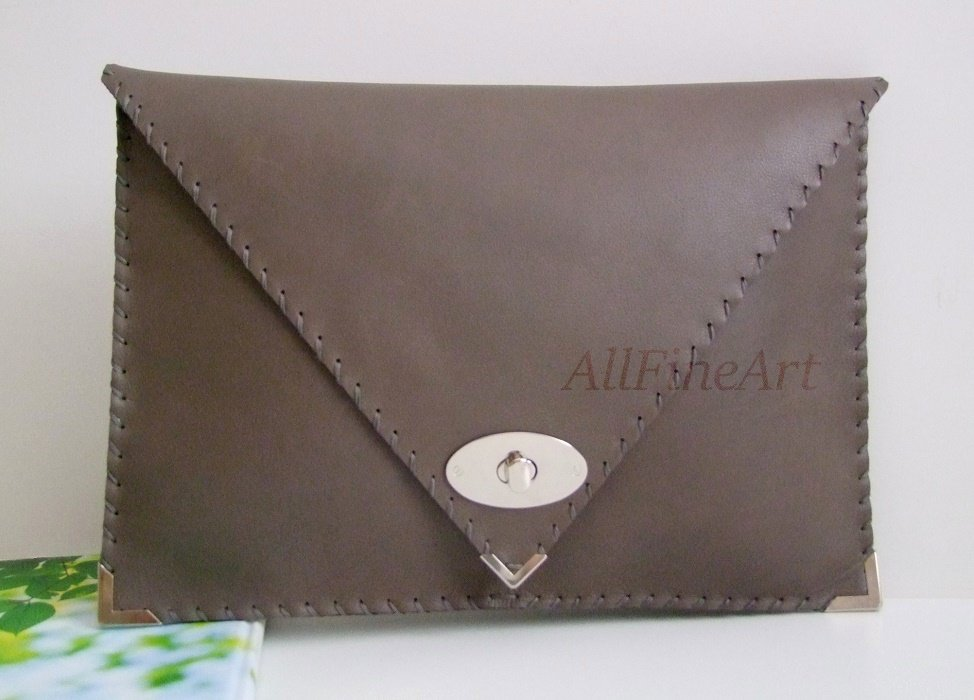 Grey genuine leather large clutch Women business handbag Document folder Laptop case Envelope clutch