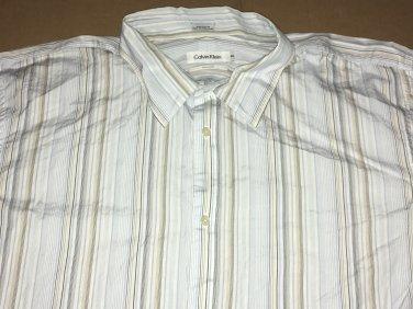 Calvin Klein Button Up Casual Collar Long Sleeve Stripe Shirt XXL