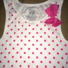 Faded Glory White Pink Polka Dot Shirt w/ Ribbon Size XL 14/16