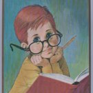 Museum print editions 1964 litho Blue Eyed Ginger Freckles Glasses Book Pencil
