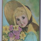 Museum print editions 1964 litho Brown Eyed Blonde Girl Bouquet Flowers Sun Hat
