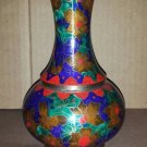 "Vintage / Antique Indian Style Beautiful Floral Detailed Colorful Brass Vase 7"" Tall"