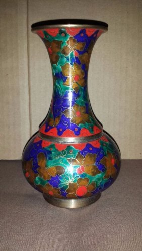 """Vintage / Antique Indian Style Beautiful Floral Detailed Colorful Brass Vase 7"""" Tall"""