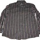 Claiborne Long Sleeve Button Up Collar Shirt Black Purple Stripes