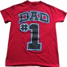 Dad # 1 Red T-shirt Boys Youth Size Small Black Blue Font
