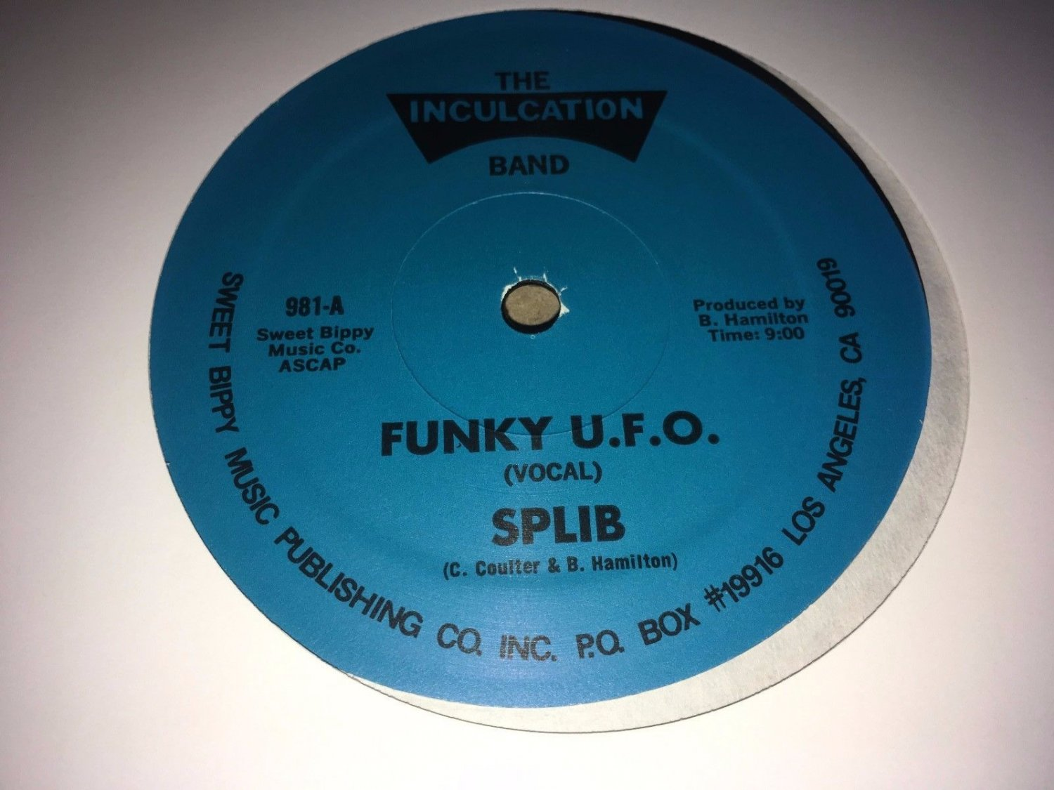"Splib & The Inculcation Band - Funky U.F.O. 12"" Single 1981 Inculcation Records"