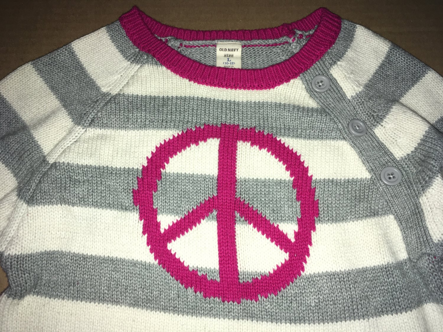 OLD NAVY Girls Sz 10-12 Peace Sign Sweater Dress gray/white stripe & pink accent