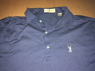 Fairway & Green Golf Polo, Rugby Blue White Stripes Short Sleeve Size XL